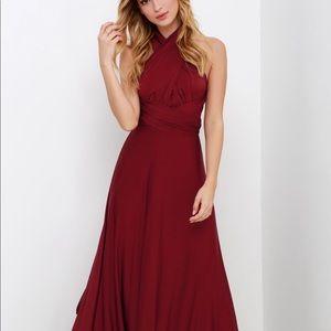 Convertible Burgundy Maxi Dress